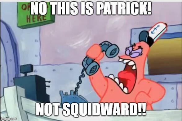 NO THIS IS PATRICK! NOT SQUIDWARD!! | image tagged in no this is patrick | made w/ Imgflip meme maker