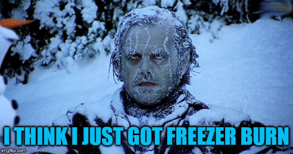 Freezing cold | I THINK I JUST GOT FREEZER BURN | image tagged in freezing cold | made w/ Imgflip meme maker
