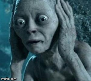 Scared Gollum | image tagged in scared gollum | made w/ Imgflip meme maker