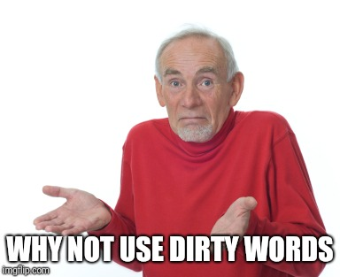 Old Man Shrugging | WHY NOT USE DIRTY WORDS | image tagged in old man shrugging | made w/ Imgflip meme maker