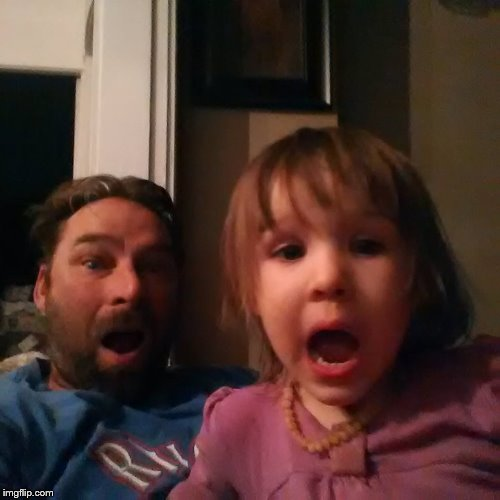 shocked dad daughter | image tagged in shocked dad daughter | made w/ Imgflip meme maker