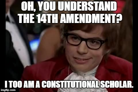 Almost everyone commenting on current issues...myself included. lol | OH, YOU UNDERSTAND THE 14TH AMENDMENT? I TOO AM A CONSTITUTIONAL SCHOLAR. | image tagged in memes,i too like to live dangerously,funny,funny memes | made w/ Imgflip meme maker