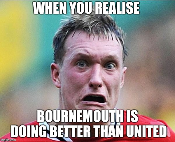 WHEN YOU REALISE BOURNEMOUTH IS DOING BETTER THAN UNITED | image tagged in did u just say soccer | made w/ Imgflip meme maker
