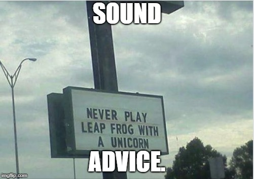 I have a hole in my pants. | SOUND ADVICE. | image tagged in unicorn,leapfrog | made w/ Imgflip meme maker