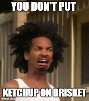 Disgusted Face | YOU DON'T PUT KETCHUP ON BRISKET | image tagged in disgusted face | made w/ Imgflip meme maker