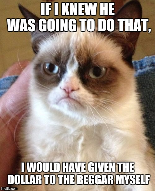 Grumpy Cat Meme | IF I KNEW HE WAS GOING TO DO THAT, I WOULD HAVE GIVEN THE DOLLAR TO THE BEGGAR MYSELF | image tagged in memes,grumpy cat | made w/ Imgflip meme maker