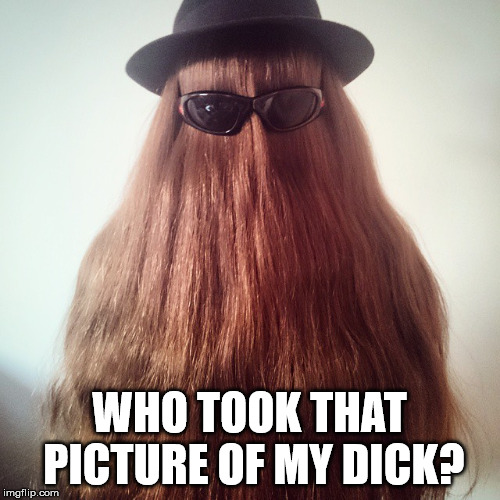 cousin it | WHO TOOK THAT PICTURE OF MY DICK? | image tagged in cousin it | made w/ Imgflip meme maker