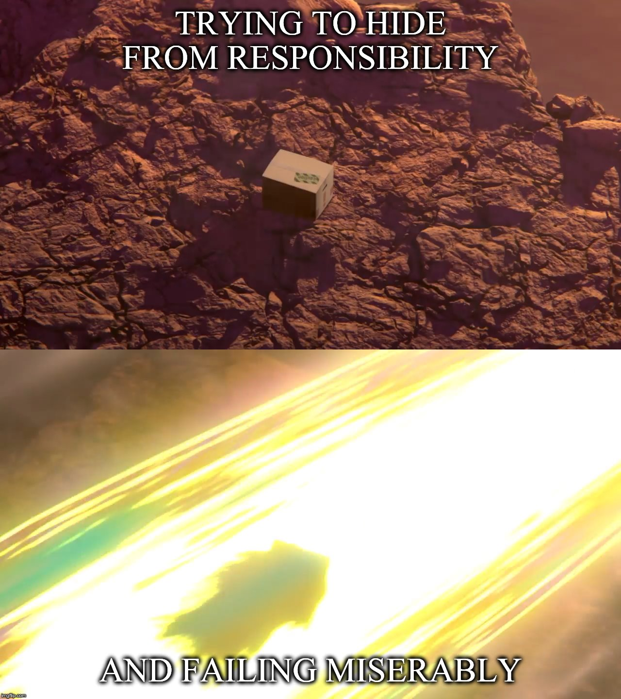 Super Smash Bros Meme | TRYING TO HIDE FROM RESPONSIBILITY AND FAILING MISERABLY | image tagged in super smash bros,snake,metal gear solid | made w/ Imgflip meme maker