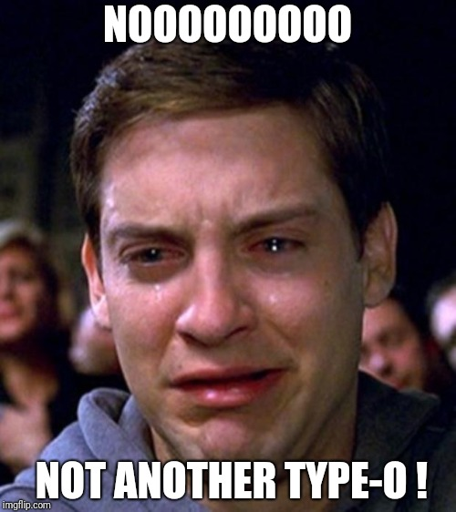 crying peter parker | NOOOOOOOOO NOT ANOTHER TYPE-O ! | image tagged in crying peter parker | made w/ Imgflip meme maker