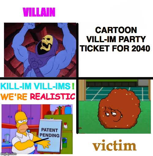 Don't Use Political Party Name Generator | CARTOON     VILL-IM PARTY    TICKET FOR 2040 WE'RE REALISTIC VILLAIN KILL-IM VILL-IMS ! victim | image tagged in memes,blank starter pack,skeletor,meatwad,aqua teen hunger force,he-man | made w/ Imgflip meme maker