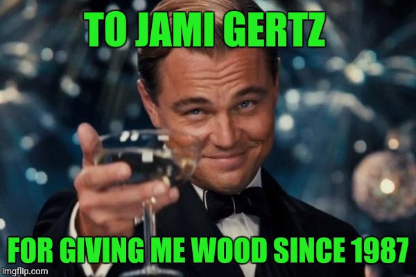 Leonardo Dicaprio Cheers Meme | TO JAMI GERTZ FOR GIVING ME WOOD SINCE 1987 | image tagged in memes,leonardo dicaprio cheers | made w/ Imgflip meme maker
