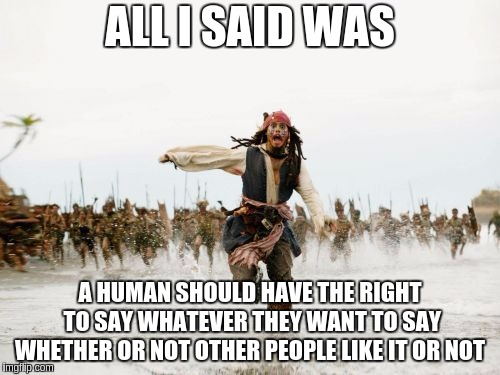 Ignore the idiots  | ALL I SAID WAS A HUMAN SHOULD HAVE THE RIGHT TO SAY WHATEVER THEY WANT TO SAY WHETHER OR NOT OTHER PEOPLE LIKE IT OR NOT | image tagged in memes,jack sparrow being chased,funny,politics lol,weird | made w/ Imgflip meme maker