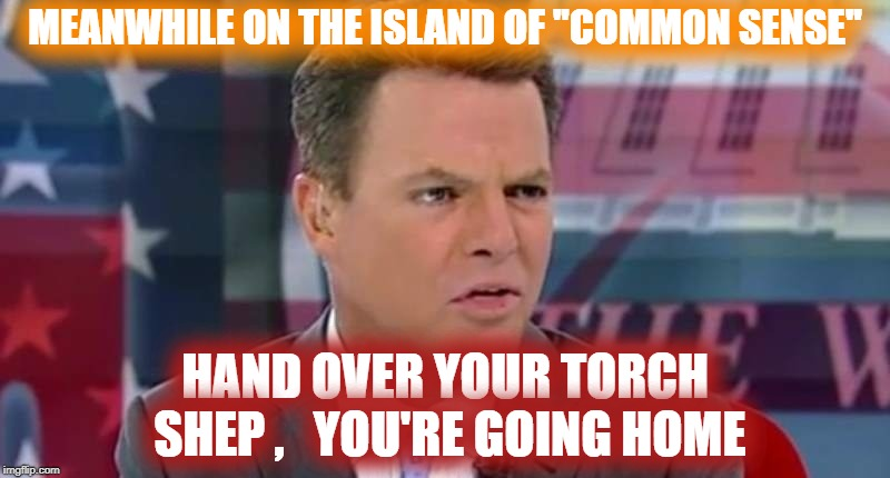 "VOTED OFF THE ISLAND SHEP | MEANWHILE ON THE ISLAND OF ""COMMON SENSE"" HAND OVER YOUR TORCH SHEP ,   YOU'RE GOING HOME 