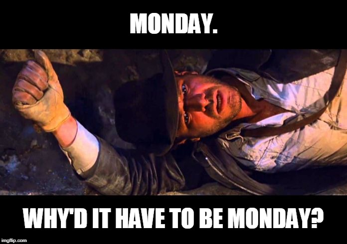 Another week of school.... |  MONDAY. WHY'D IT HAVE TO BE MONDAY? | image tagged in indiana jones why'd it have to be snakes,indiana jones,monday,mondays,i hate mondays | made w/ Imgflip meme maker