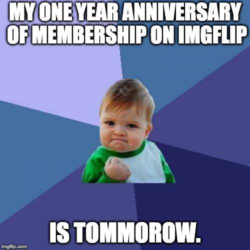 One Year Success | MY ONE YEAR ANNIVERSARY OF MEMBERSHIP ON IMGFLIP IS TOMMOROW. | image tagged in memes,success kid,anniversary | made w/ Imgflip meme maker