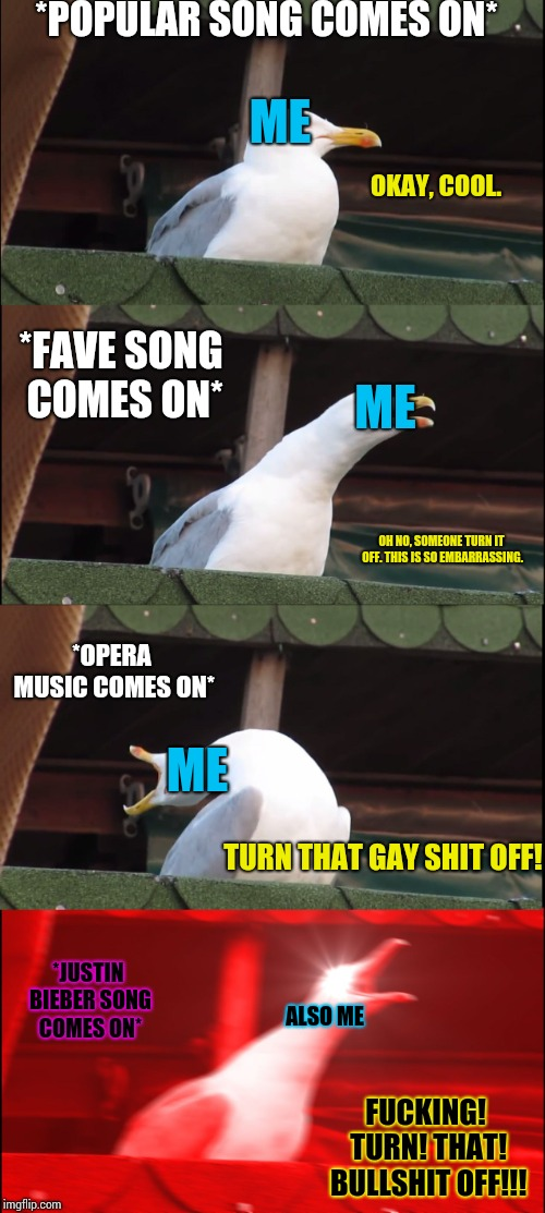 Anyone feel this way too? | *POPULAR SONG COMES ON* *FAVE SONG COMES ON* *OPERA MUSIC COMES ON* *JUSTIN BIEBER SONG COMES ON* OKAY, COOL. ME OH NO, SOMEONE TURN IT OFF. | image tagged in memes,inhaling seagull,me in a nutshell,justin bieber | made w/ Imgflip meme maker