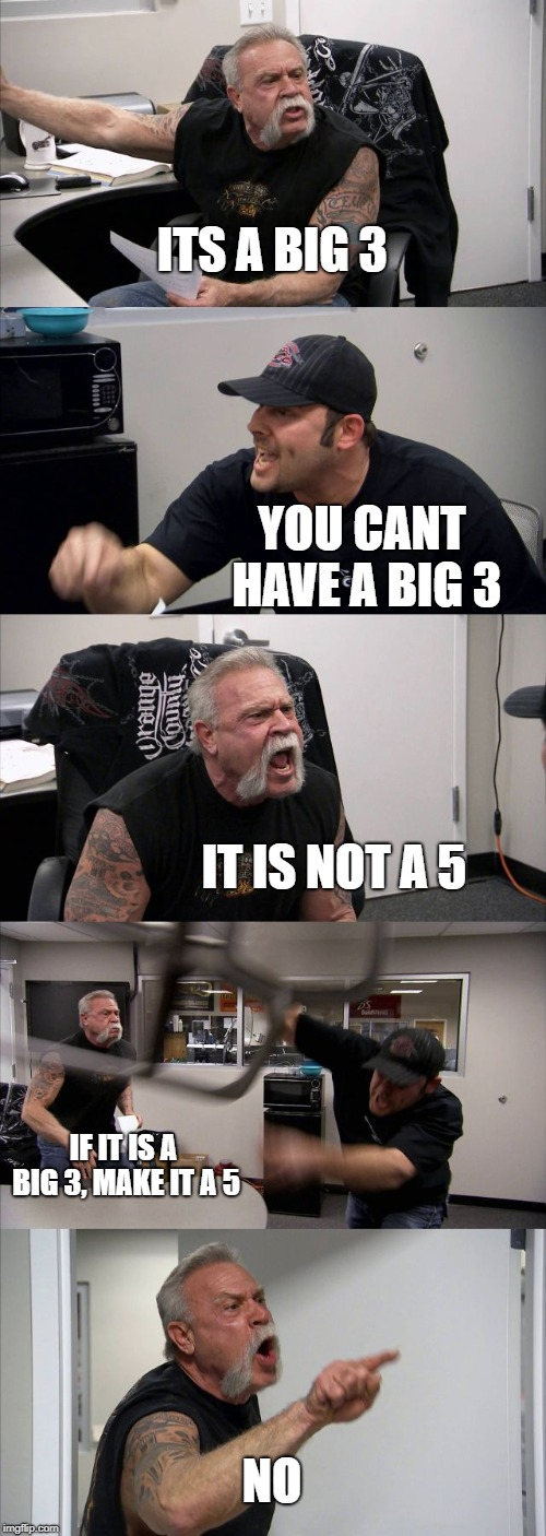 American Chopper Argument | ITS A BIG 3 YOU CANT HAVE A BIG 3 IT IS NOT A 5 IF IT IS A BIG 3, MAKE IT A 5 NO | image tagged in memes,american chopper argument,development,scrum | made w/ Imgflip meme maker