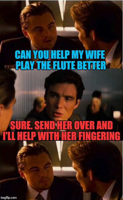 Inception Meme | CAN YOU HELP MY WIFE PLAY THE FLUTE BETTER SURE. SEND HER OVER AND I'LL HELP WITH HER FINGERING | image tagged in memes,inception | made w/ Imgflip meme maker