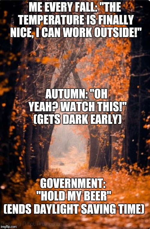 "Same thing every year | ME EVERY FALL: ""THE TEMPERATURE IS FINALLY NICE, I CAN WORK OUTSIDE!"" (ENDS DAYLIGHT SAVING TIME) AUTUMN: ""OH YEAH? WATCH THIS!"" (GETS DARK  