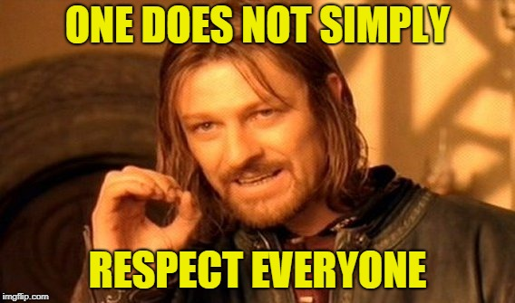 One Does Not Simply Meme | ONE DOES NOT SIMPLY RESPECT EVERYONE | image tagged in memes,one does not simply | made w/ Imgflip meme maker