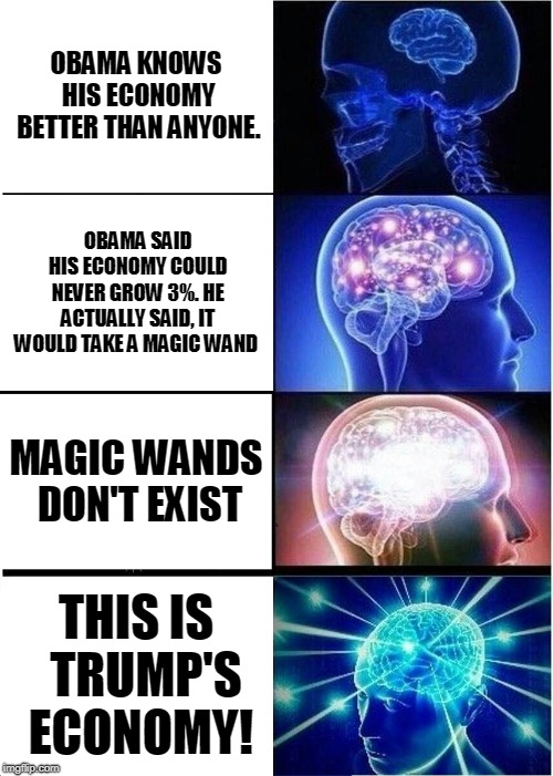 Obama's Economy? Use Logic Bombs! | OBAMA KNOWS HIS ECONOMY BETTER THAN ANYONE. OBAMA SAID HIS ECONOMY COULD NEVER GROW 3%. HE ACTUALLY SAID, IT WOULD TAKE A MAGIC WAND MAGIC W | image tagged in memes,expanding brain | made w/ Imgflip meme maker