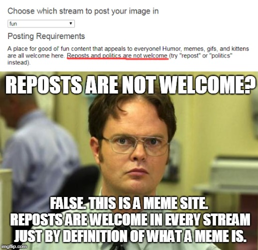 I wish the mods would stop trying to make up strange guidelines that are not possible to follow. | FALSE. THIS IS A MEME SITE. REPOSTS ARE WELCOME IN EVERY STREAM JUST BY DEFINITION OF WHAT A MEME IS. REPOSTS ARE NOT WELCOME? | image tagged in memes,dwight schrute,politics,reposts,imgflip | made w/ Imgflip meme maker
