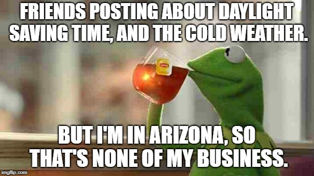 Kermit sipping tea | FRIENDS POSTING ABOUT DAYLIGHT SAVING TIME, AND THE COLD WEATHER. BUT I'M IN ARIZONA, SO THAT'S NONE OF MY BUSINESS. | image tagged in kermit sipping tea | made w/ Imgflip meme maker