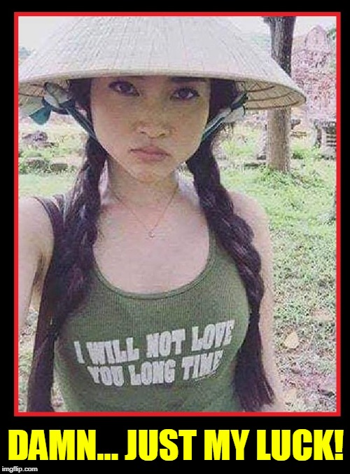 I revisited Vietnam, obviously 60 years too late | DAMN... JUST MY LUCK! | image tagged in vince vance,full metal jacket,me love you longtime,vietnam,good morning vietnam,asian girls | made w/ Imgflip meme maker