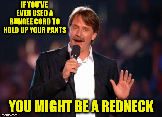 I have it on good authority that a former flipper has done this on occasion.  | IF YOU'VE EVER USED A BUNGEE CORD TO HOLD UP YOUR PANTS YOU MIGHT BE A REDNECK | image tagged in jeff foxworthy,bungee cord,belt and suspenders,pants,redneck | made w/ Imgflip meme maker