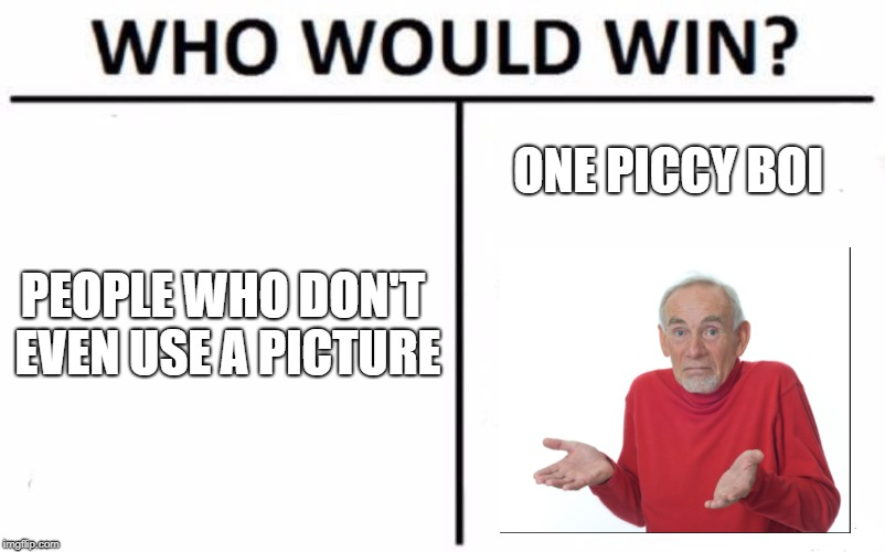Who Would Win? Meme | PEOPLE WHO DON'T EVEN USE A PICTURE ONE PICCY BOI | image tagged in memes,who would win | made w/ Imgflip meme maker