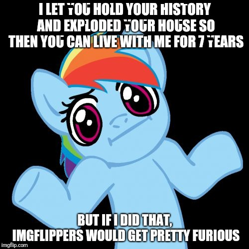 Pony Shrugs Meme | I LET YOU HOLD YOUR HISTORY AND EXPLODED YOUR HOUSE SO THEN YOU CAN LIVE WITH ME FOR 7 YEARS BUT IF I DID THAT, IMGFLIPPERS WOULD GET PRETTY | image tagged in memes,pony shrugs | made w/ Imgflip meme maker