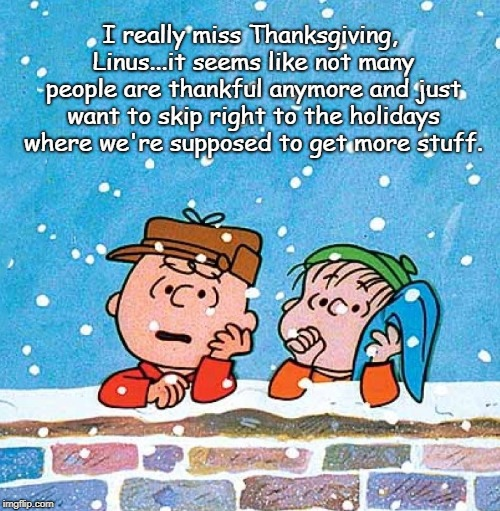 Material Witness | I really miss Thanksgiving, Linus...it seems like not many people are thankful anymore and just want to skip right to the holidays where we' | image tagged in charlie brown and linus,greed,holidays,thanksgiving,materialism,christmas | made w/ Imgflip meme maker