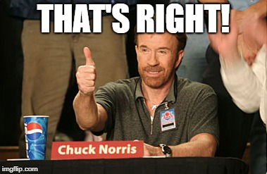 Chuck Norris Approves Meme | THAT'S RIGHT! | image tagged in memes,chuck norris approves,chuck norris | made w/ Imgflip meme maker