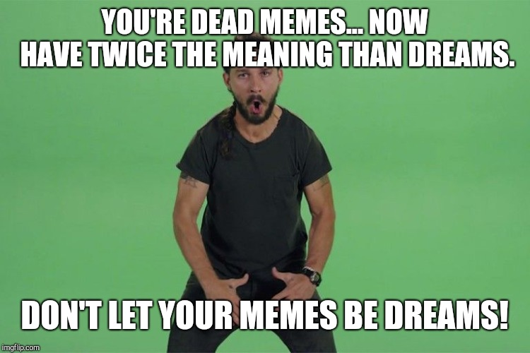 Shia labeouf JUST DO IT |  YOU'RE DEAD MEMES... NOW HAVE TWICE THE MEANING THAN DREAMS. DON'T LET YOUR MEMES BE DREAMS! | image tagged in shia labeouf just do it | made w/ Imgflip meme maker