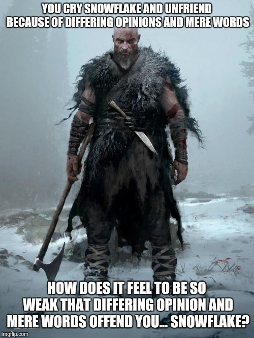 YOU CRY SNOWFLAKE AND UNFRIEND BECAUSE OF DIFFERING OPINIONS AND MERE WORDS; HOW DOES IT FEEL TO BE SO WEAK THAT DIFFERING OPINION AND MERE WORDS OFFEND YOU... SNOWFLAKE? | image tagged in snowflake,vikings,barbarian,god of war,weak | made w/ Imgflip meme maker