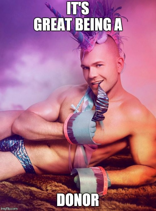 Sexy Gay Unicorn | IT'S GREAT BEING A DONOR | image tagged in sexy gay unicorn | made w/ Imgflip meme maker
