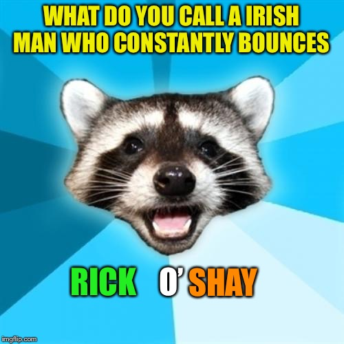 Lame Pun Coon Meme | WHAT DO YOU CALL A IRISH MAN WHO CONSTANTLY BOUNCES SHAY O' RICK | image tagged in memes,lame pun coon | made w/ Imgflip meme maker