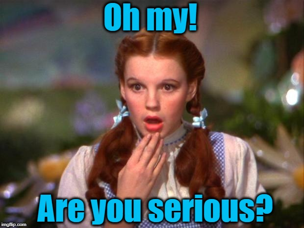 Dorothy | Oh my! Are you serious? | image tagged in dorothy | made w/ Imgflip meme maker