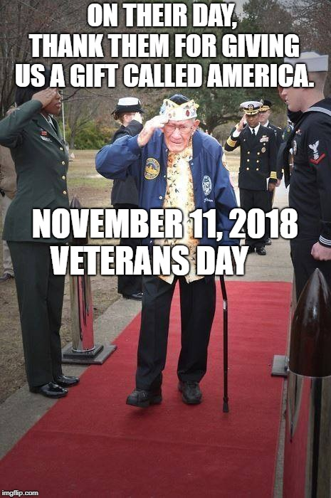 Veteran Nation | ON THEIR DAY, THANK THEM FOR GIVING US A GIFT CALLED AMERICA. NOVEMBER 11, 2018 VETERANS DAY | image tagged in veteran nation | made w/ Imgflip meme maker