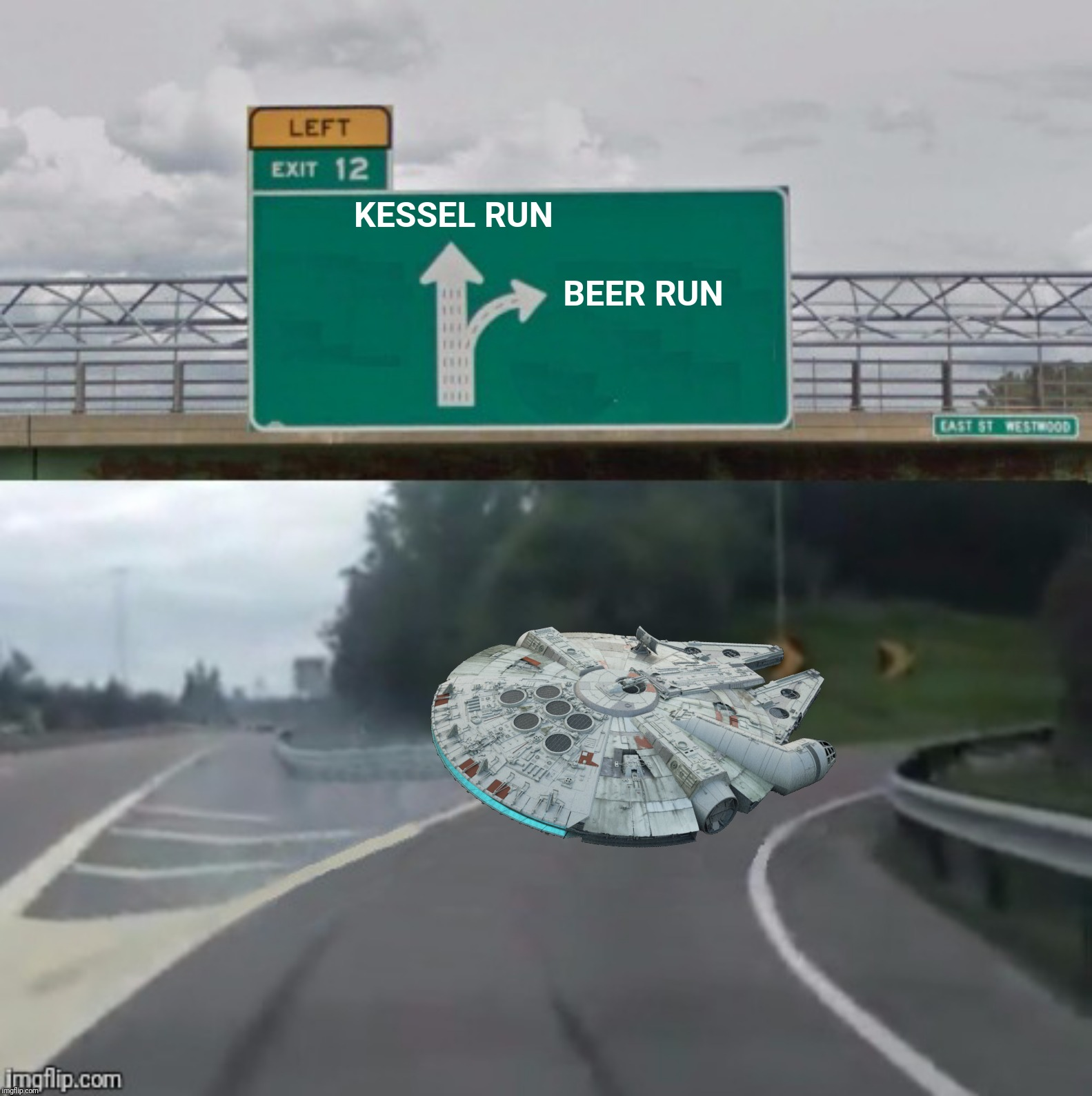 Bad Photoshop Sunday presents:  btbeeston takes command of The Millennium Falcon! | KESSEL RUN BEER RUN | image tagged in bad photoshop sunday,kessel run,beer run,star wars,millennium falcon | made w/ Imgflip meme maker