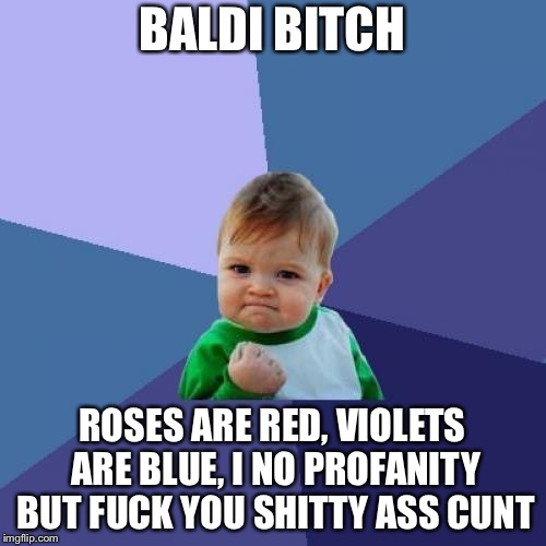 Success Kid Meme | BALDI B**CH ROSES ARE RED, VIOLETS ARE BLUE, I NO PROFANITY BUT F**K YOU SHITTY ASS C**T | image tagged in memes,success kid | made w/ Imgflip meme maker