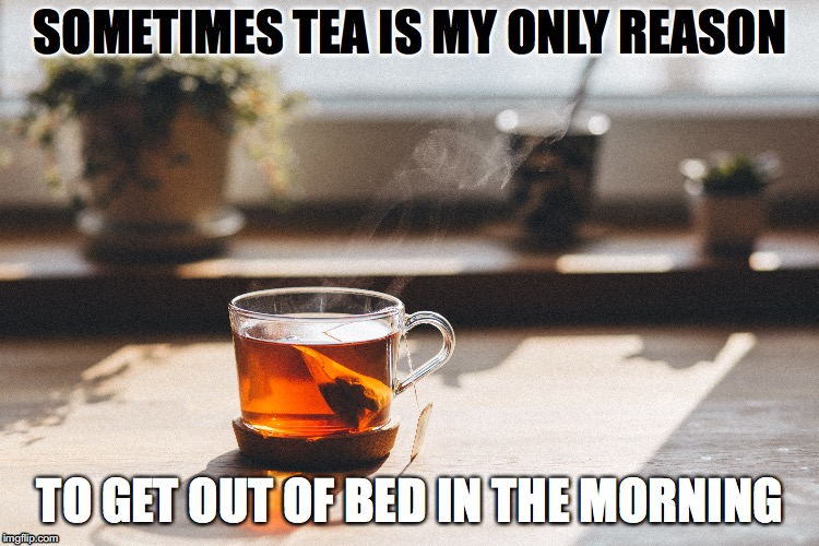 Tea is my reason | SOMETIMES TEA IS MY ONLY REASON TO GET OUT OF BED IN THE MORNING | image tagged in tea,morning,wake up | made w/ Imgflip meme maker