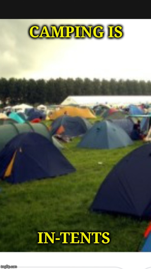 CAMPING IS IN-TENTS | image tagged in bad camping pun,memes,funny,camping | made w/ Imgflip meme maker