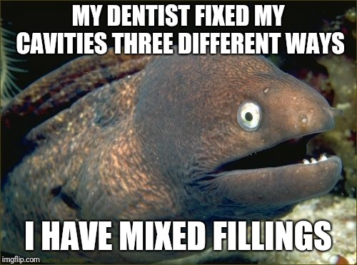 Bad Joke Eel | MY DENTIST FIXED MY CAVITIES THREE DIFFERENT WAYS I HAVE MIXED FILLINGS | image tagged in memes,bad joke eel | made w/ Imgflip meme maker