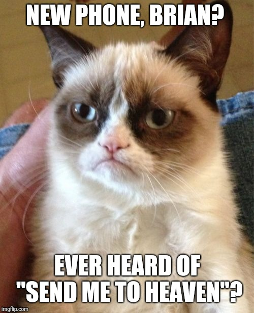 "Grumpy Cat Meme | NEW PHONE, BRIAN? EVER HEARD OF ""SEND ME TO HEAVEN""? 