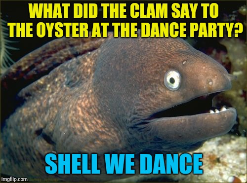 Bad Joke Eel | WHAT DID THE CLAM SAY TO THE OYSTER AT THE DANCE PARTY? SHELL WE DANCE | image tagged in memes,bad joke eel | made w/ Imgflip meme maker