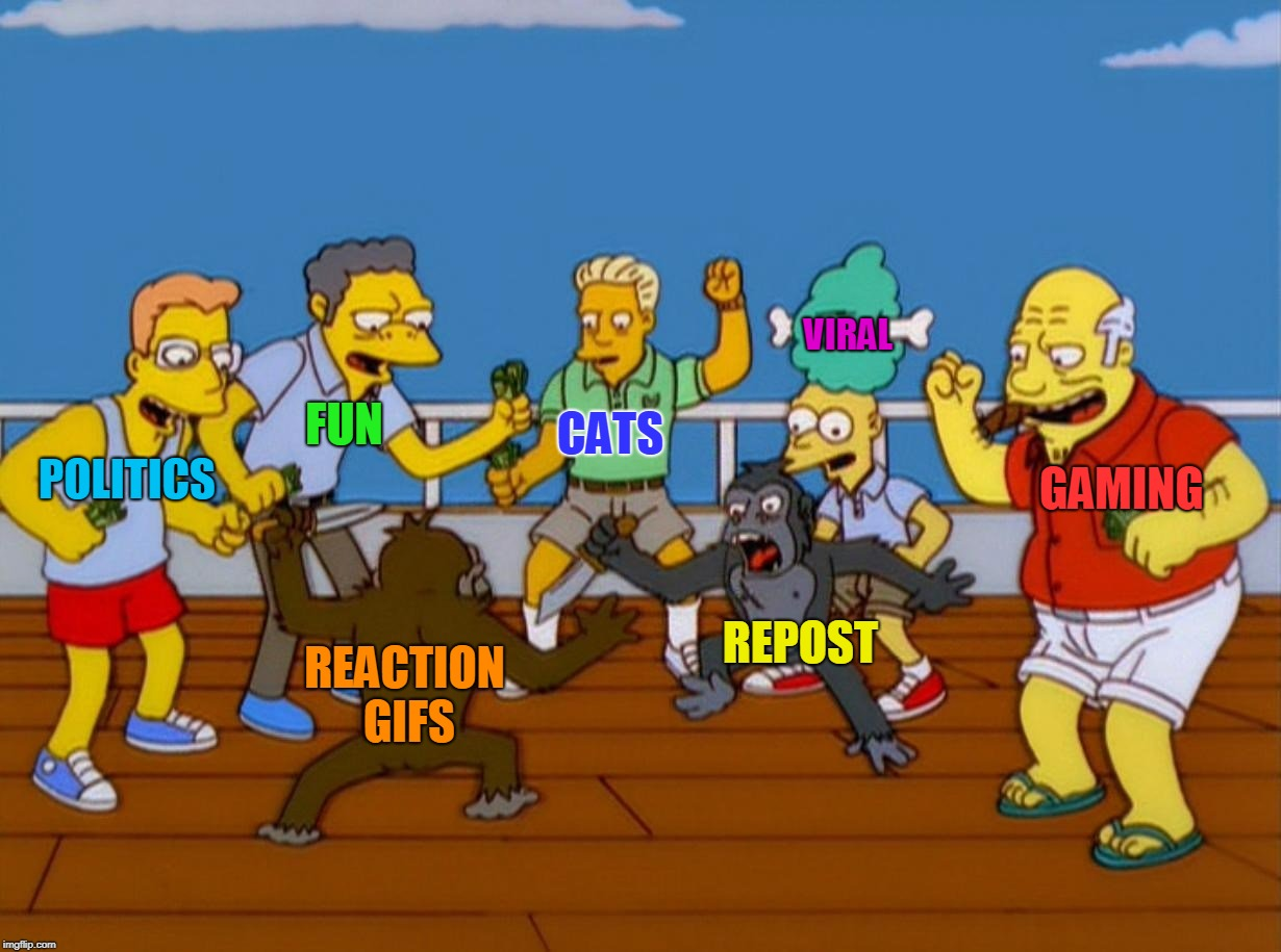 Simpsons Monkey Fight | GAMING REACTION GIFS REPOST FUN POLITICS CATS VIRAL | image tagged in simpsons monkey fight,streams,viral,lol so funny,imgflip humor,imgflip history | made w/ Imgflip meme maker