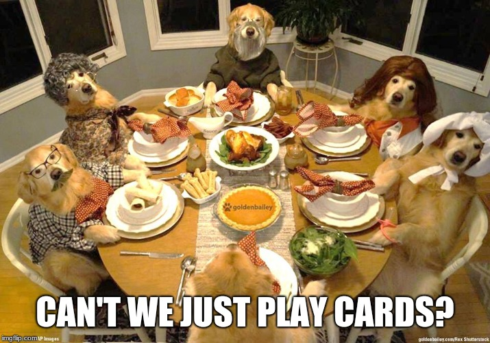 A new velvet poster: Just in time for the holidays. |  CAN'T WE JUST PLAY CARDS? | image tagged in dog thanksgiving,golden retriever,memes,pop culture | made w/ Imgflip meme maker