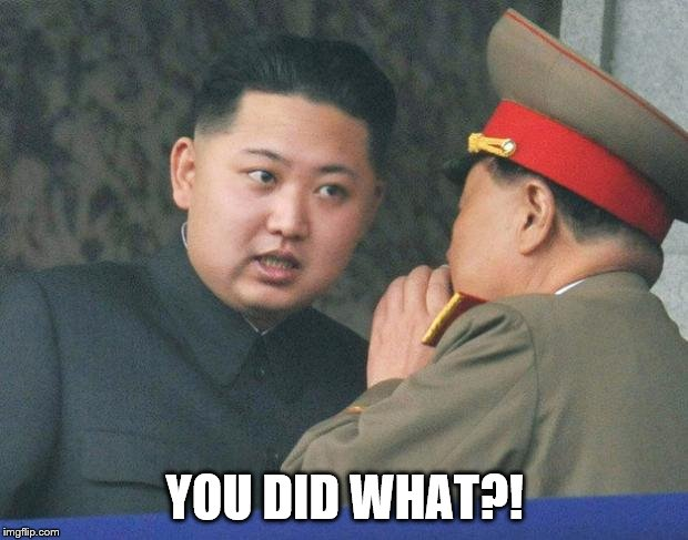 Hungry Kim Jong Un | YOU DID WHAT?! | image tagged in hungry kim jong un | made w/ Imgflip meme maker