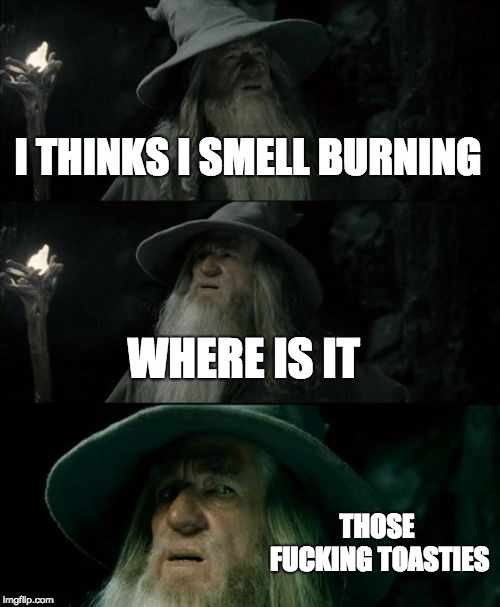 Confused Gandalf Meme | I THINKS I SMELL BURNING WHERE IS IT THOSE F**KING TOASTIES | image tagged in memes,confused gandalf | made w/ Imgflip meme maker